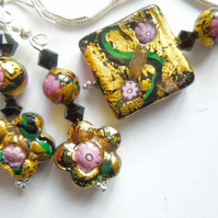 Gold and pink Klimt Murano glass jewellery set.