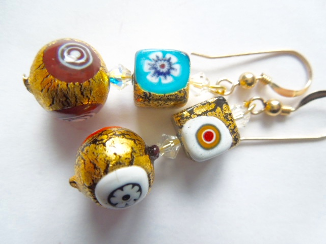 Decorated gold Murano glass and Swarovski crystal earrings.