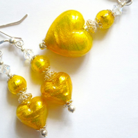 Gold Murano glass pendant and earring set with Swarovski crystal.