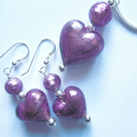Purple Murano glass pendant and earring set with Swarovski.