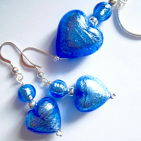 Blue Murano glass pendant and earrings set.