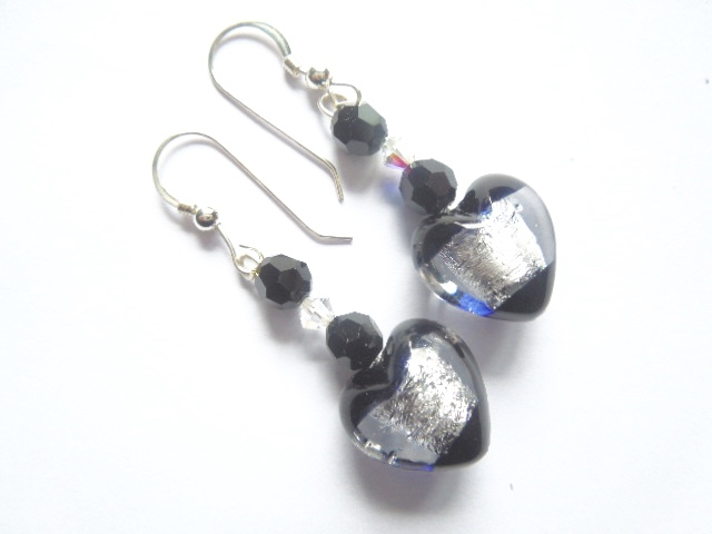 Black and silver Murano glass earrings with Swarovski crystals.