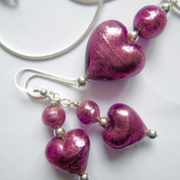 Purple Murano glass pendant and earring set with sterling silver.