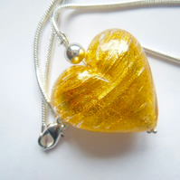 Gold Murano glass large heart pendant with sterling silver.