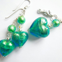 Green Murano glass jewellery set with sterling silver charm.