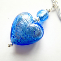 Murano glass blue heart pendant with sterling silver.