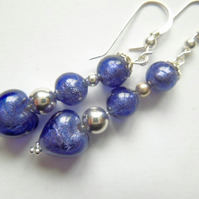 Purple and silver Murano glass earrings.