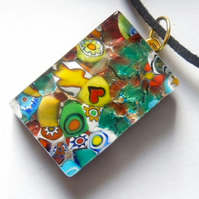 Murano multi coloured  glass oblong pendant.