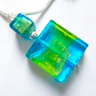 Green and blue Murano glass spangle pendant with sterling silver.