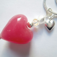 Pink Murano glass heart pendant with Swarovksi, sterling silver charm and chain.