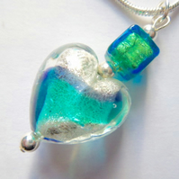Purple and green Murano glass heart pendant with sterling silver.