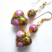Pink and gold Murano glass earrings with gold filled hooks.