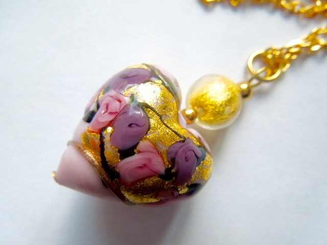 Pink and gold Murano glass pendant
