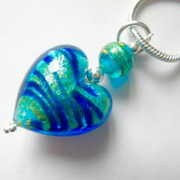 Blue and green Murano glass heart pendant with sterling silver.