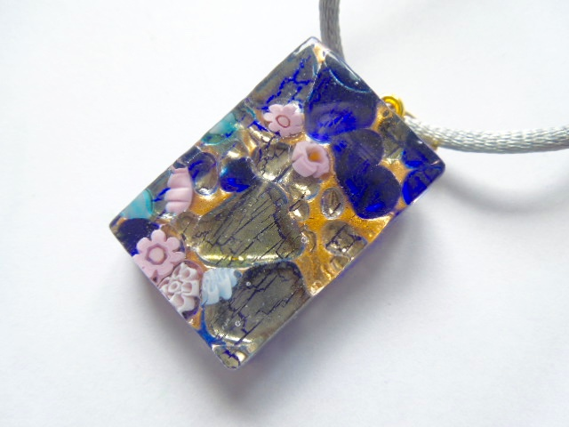Blue Murano glass millefiore rectangular pendant.