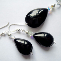 Black Murano glass pendant and earring set with Swarovski and sterling silver.