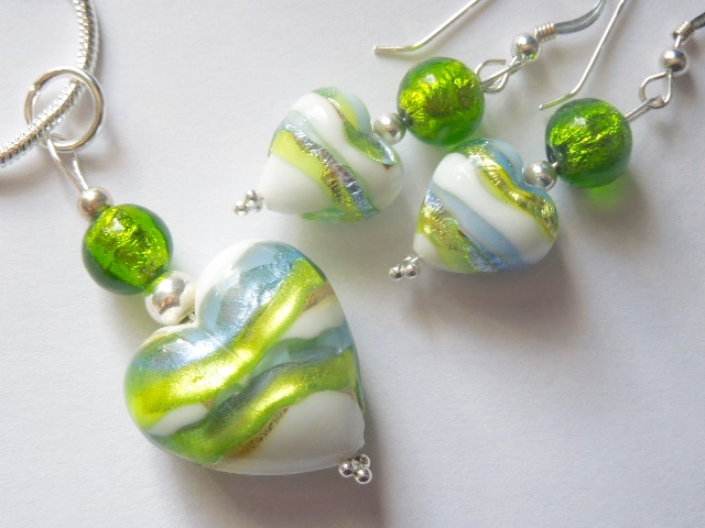Green and blue Murano glass jewellery set with sterling silver.