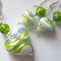 Murano glass green and white pendant and earrings set with sterling silver.