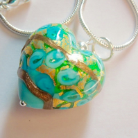 Turquoise and goldfoil Murano glass heart pendant with sterling silver.