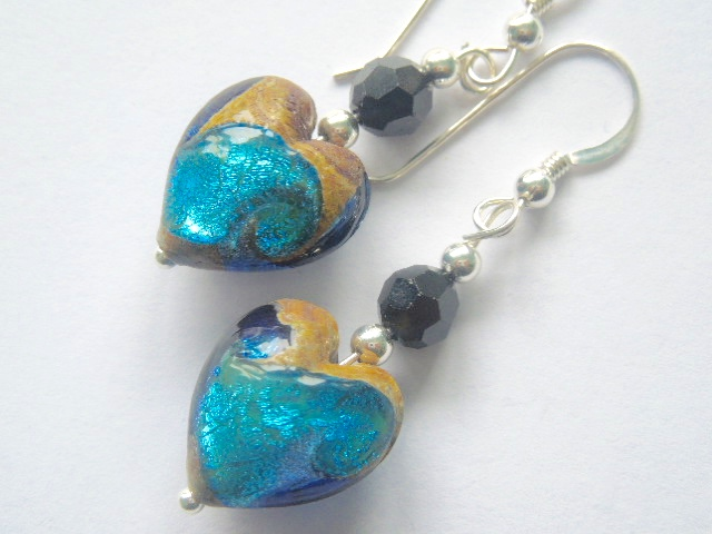Turquoise and black Murano glass earrings with Swarovski and sterling silver.