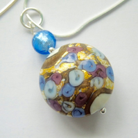 Murano glass blue and silver pendant with  sterling silver