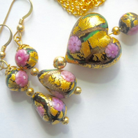 Murano glass gold,pink and black Klimt pendant and earring set.