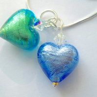 Murano glass blue and green heart pendant with Swarovski and sterling silver.