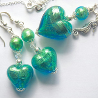 Murano glass pendant and earrings jewellery set with sterling silver.