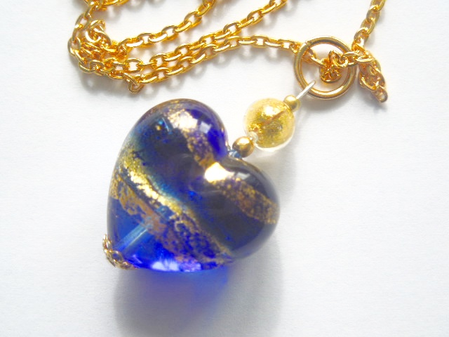 Murano glass blue and gold heart pendant.
