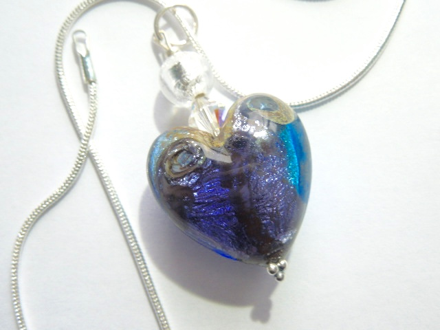 Murano glass blue heart pendant with Swarovski crystal and sterling silver.