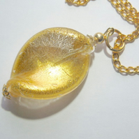 Murano glass gold pendant.