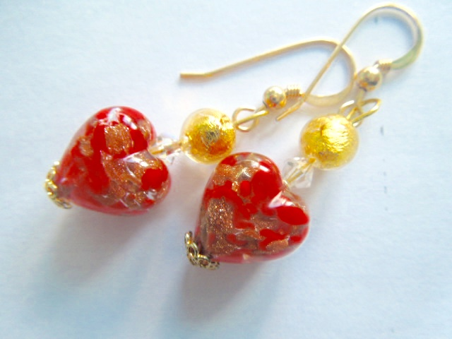 Murano glass red earrings with Swarovski crystal and gold filled hooks.