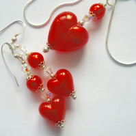 Murano glass red pendant and earring set with Swarovski and sterling silver.