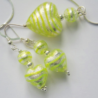 Murano glass green and silver pendant and earrings set with sterling silver.