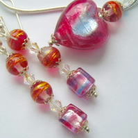 Murano glass pink, gold and blue pendant and earrings set with Swarovski.