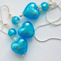 Murano glass turquoise pendant and earrings set with Swarovsk crystal.