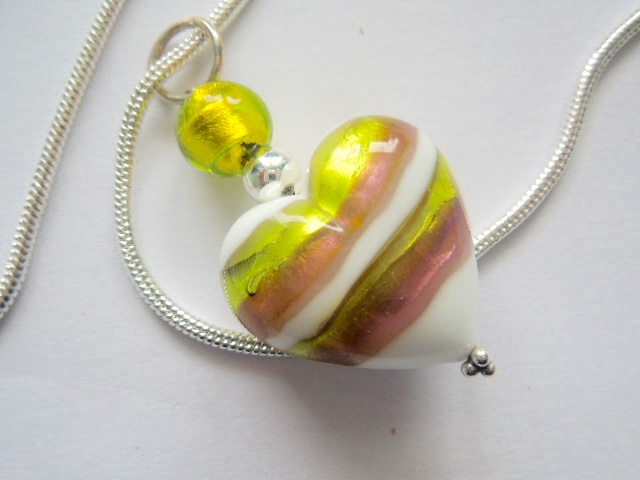 Murano glass green and white heart pendant with sterling silver.