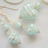 Murano glass blue and silver pendant and earrings set with sterling silver.