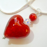 Murano glass red heart pendant with Swarovski crystal and sterling silver.