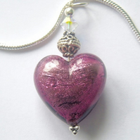 Purple Murano glass heart pendant with sterling silver and Swarovski crystal.