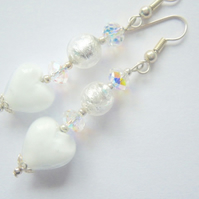White and silver Murano glass heart earrings.