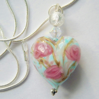 Pink rose Murano glass heart pendant with Swarovski crystal and sterling silver
