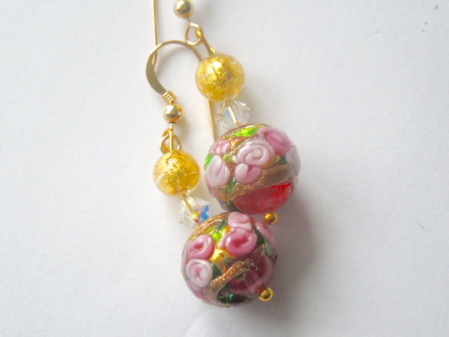 Murano glass pink and gold earrings with Swarovski crystal and gold filled hooks
