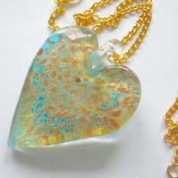 Green and gold Murano glass large heart pendant with sterling silver.