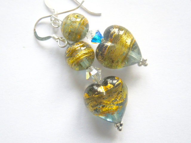 Green and gold Murano glass heart earrings with Swarovski crystal.