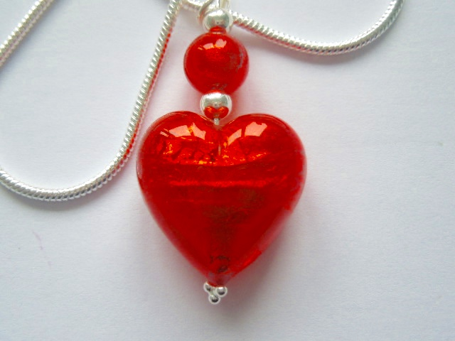 Sterling Silver Murano Glass Red Heart Pendant