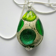 Green and silver Murano glass pear drop pendant with sterling silver.