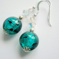 Green and silver Murano glass earrings with Swarovski and sterling silver.