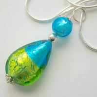 Turquoise and green  Murano glass pear drop pendant with sterling silver.
