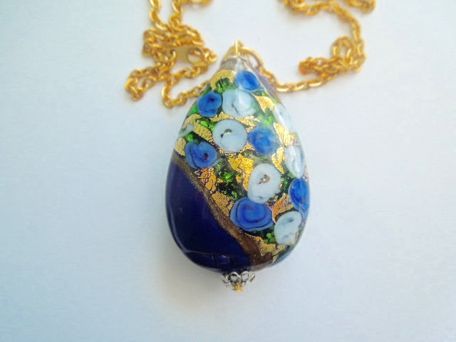 Blue and gold Murano glass large teardrop pendant with gold chain.
